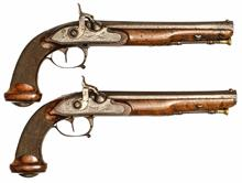 pair of percussion travel pistols, Pignet Paris, 15 mm, #without, § unrestricted