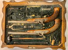 Pair duelling percussion pistols, cased, Siegel - Salzburg, 11 mm, #without, § unrestricted