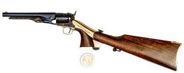 miniature revolver Uberti, model Colt 1861 Navy with shoulder stock, inoperable, #Z083, § unrestricted